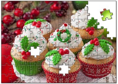 Cupcake with Christmas decorations