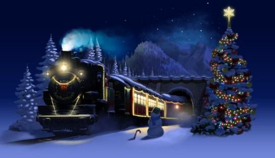 Treinstation met Kerst