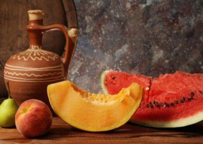 Stilleven met meloenen